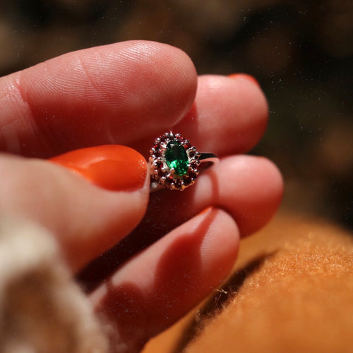 Rosmerta Silver and Green Cubic Zirconia Boho Ring