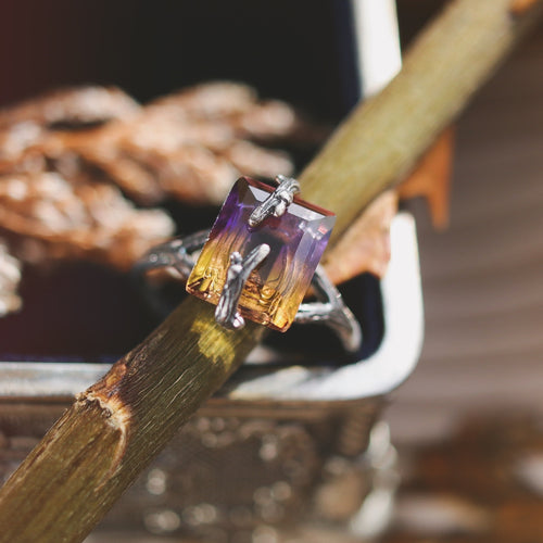 Forest Embrace Ametrine Branch Ring