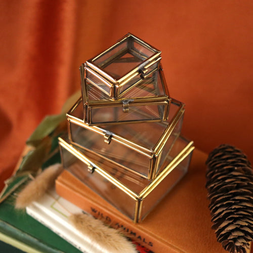 Glass & Brass Stackable Jewellery Box Set | UK ONLY