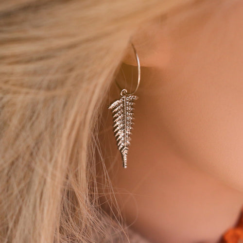 Winter's Forest Fern Hoop Earrings *Colour Select