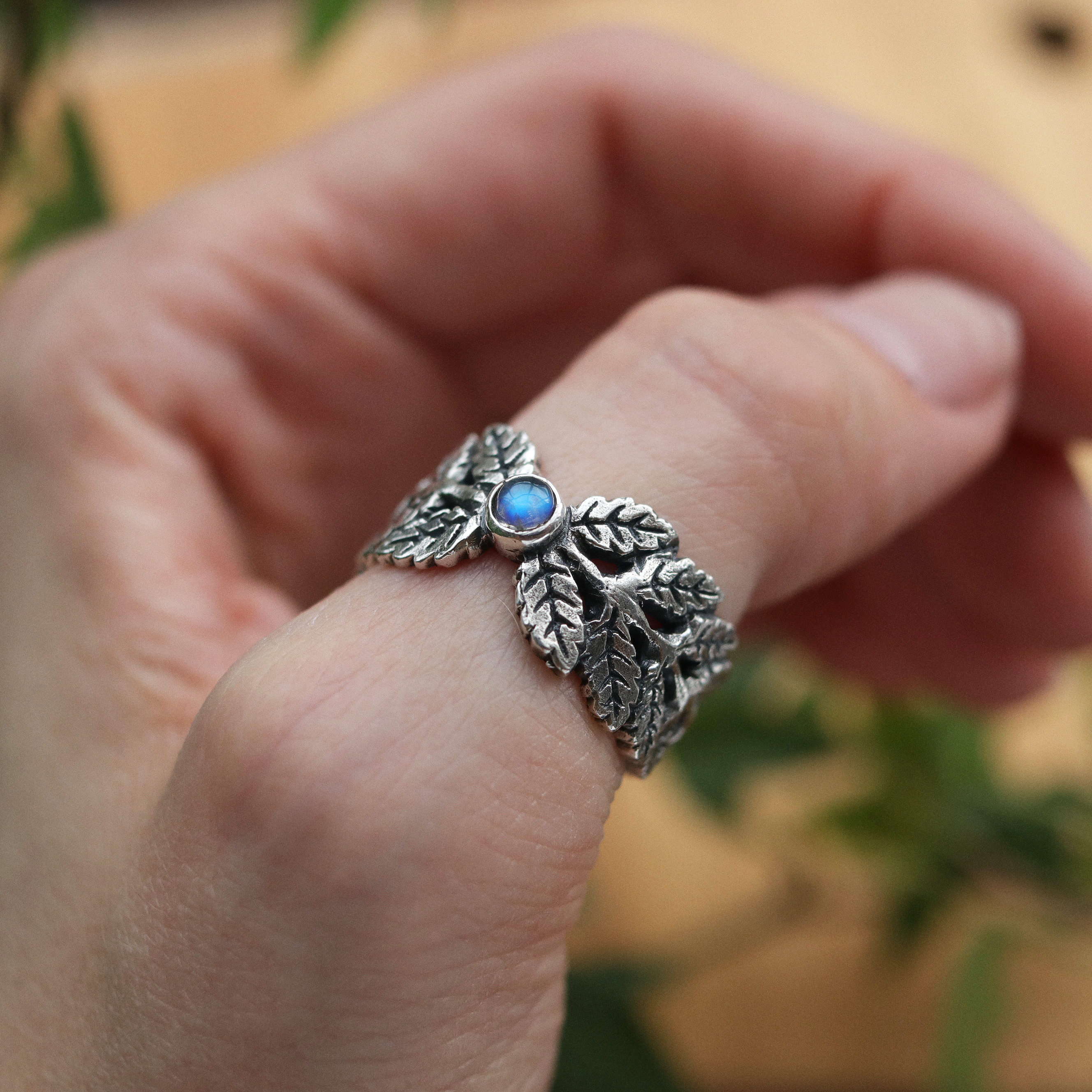 Moonstone Fern Cradle Boho Ring