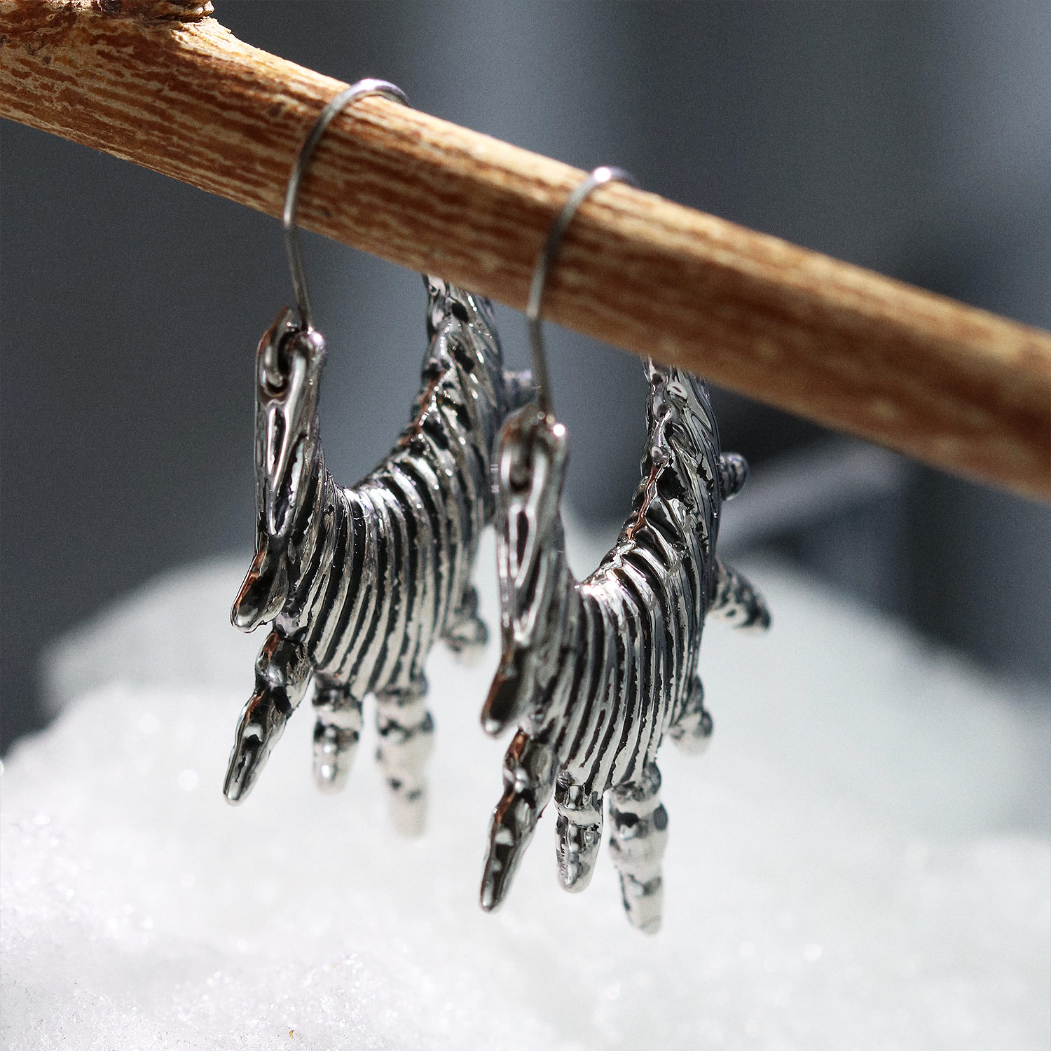 Shield Maiden Drop Earrings Silver