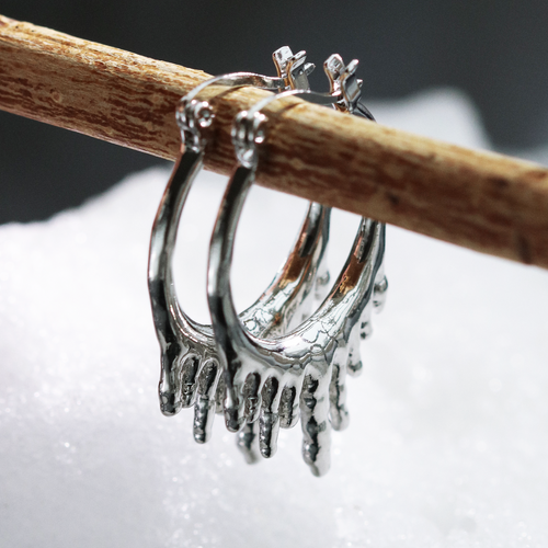 Ice Chasm Hoop Earrings Silver