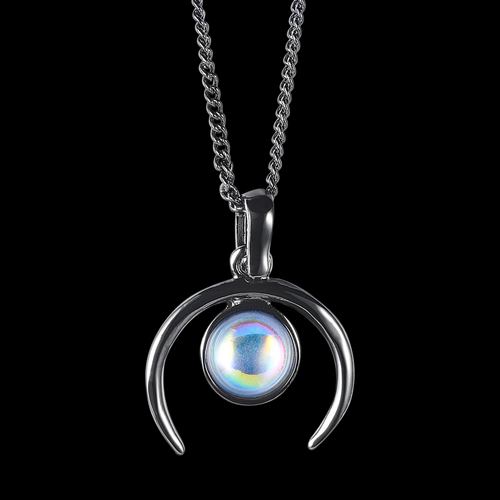 Winter's Ruling Crescent Moon Mystic Opal Necklace *Colour Select