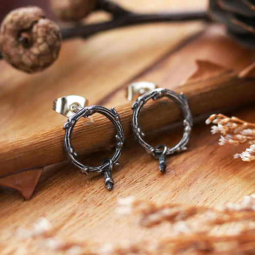 Hysminai Thorn Drop Eclipse Gothic Sterling Silver Earrings