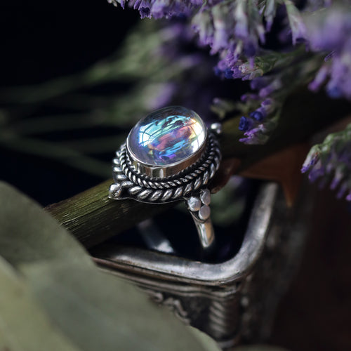 Little Luna Mystic Opal Sterling Silver Boho Ring