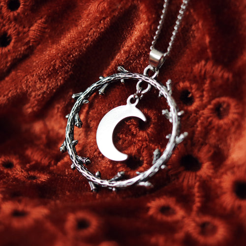 Crescent Moon Thorn Wreath Silver Necklace | Limited Edition