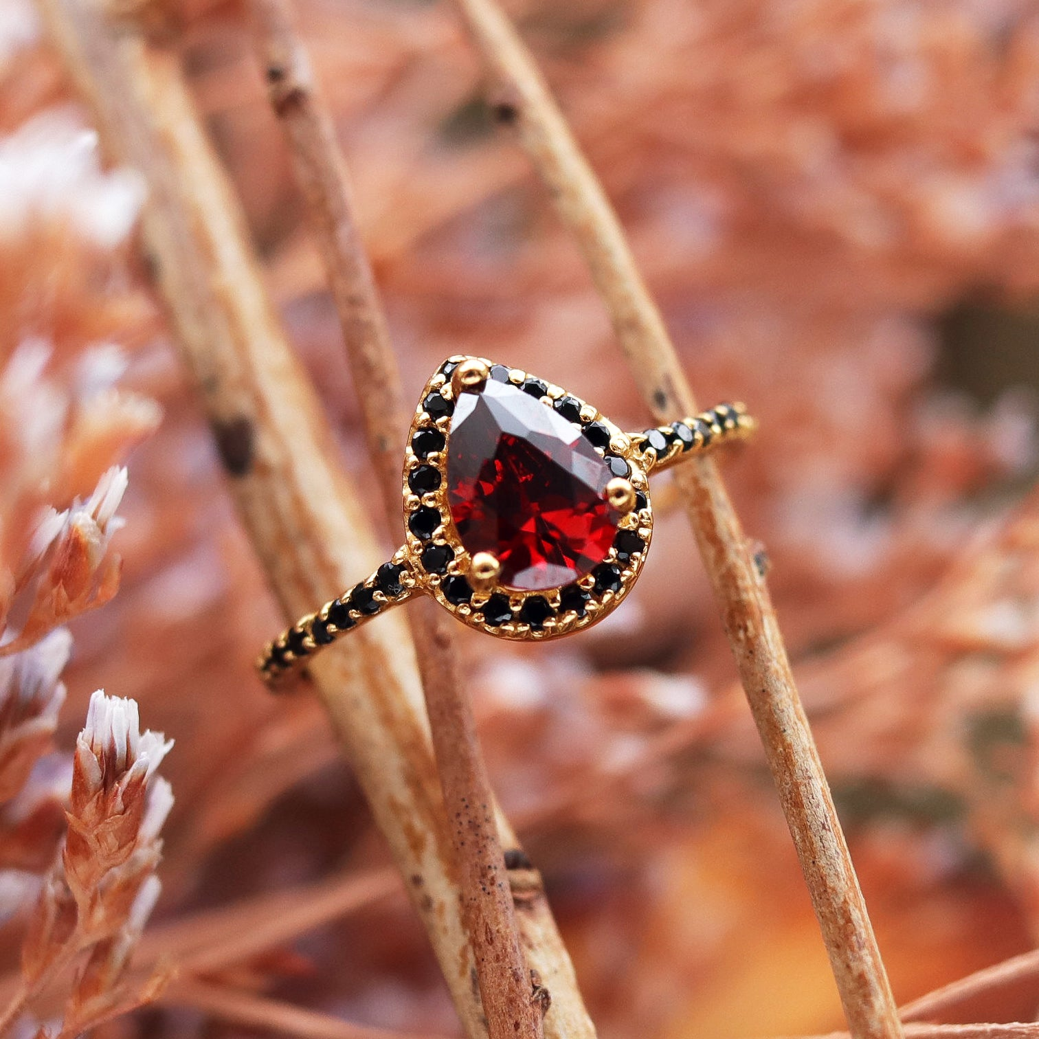 Andrasta Gold and Red Boho Cubic Zirconia Ring
