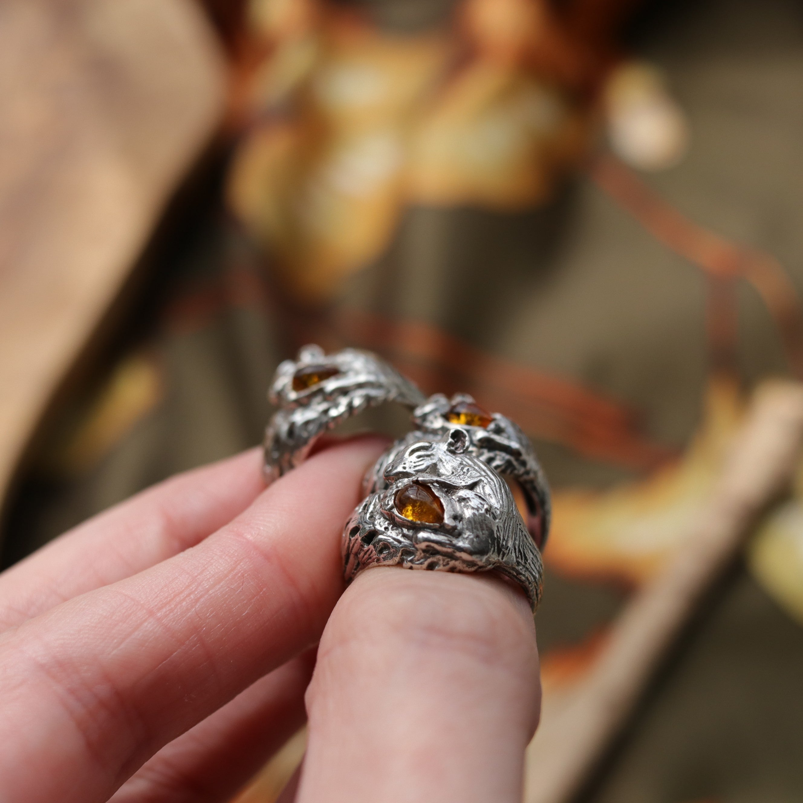 SECONDS -- Sleeping Squirrel Acorn Amber Boho Ring