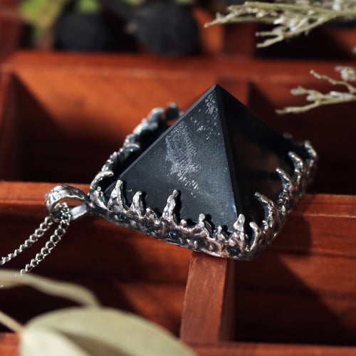 Freyr Smoky Quartz Icicle Crystal Pyramid Necklace #27
