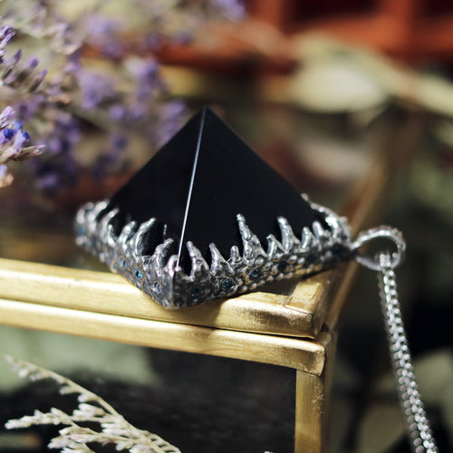 Freyr Smoky Quartz Icicle Crystal Pyramid Necklace #32
