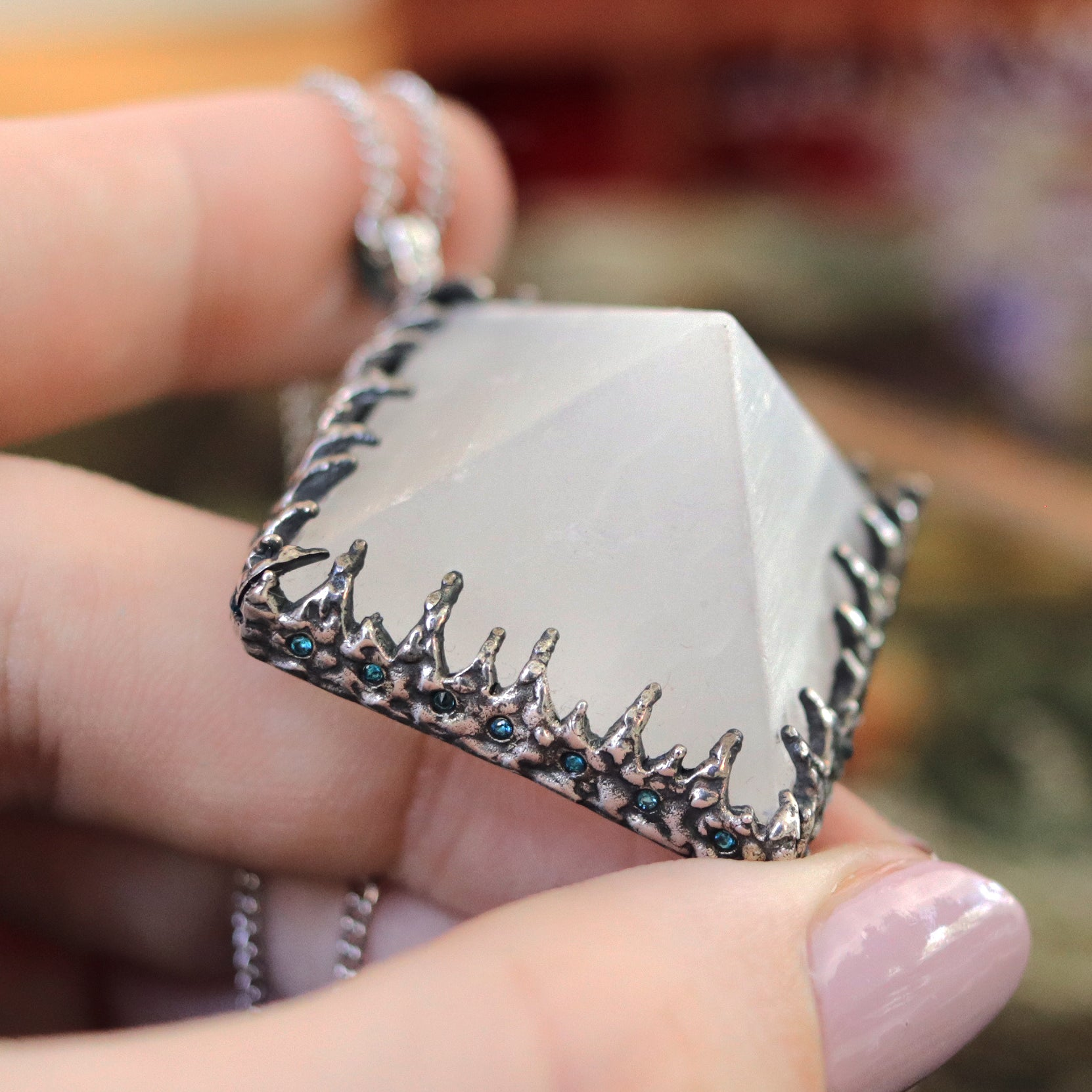 Freyr Selenite Icicle Crystal Pyramid Necklace #27