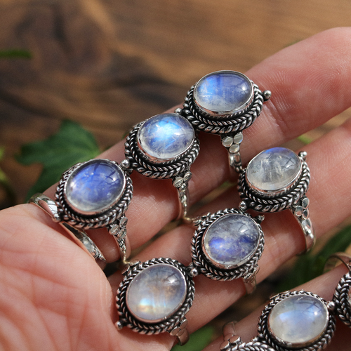 LAST CHANCE Little Luna Rainbow Moonstone Sterling Silver Boho Ring