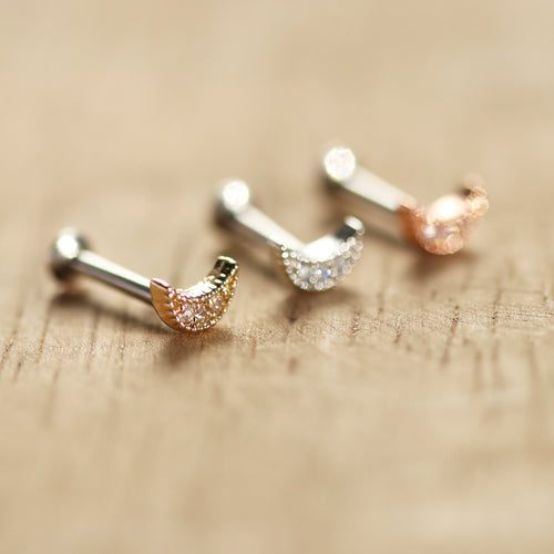 Mini Moon Surgical Steel Pierced Bar / Stud *Multi Use
