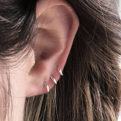 Plain Continuous Closure Boho Sterling Silver Mini Hoop / Earring