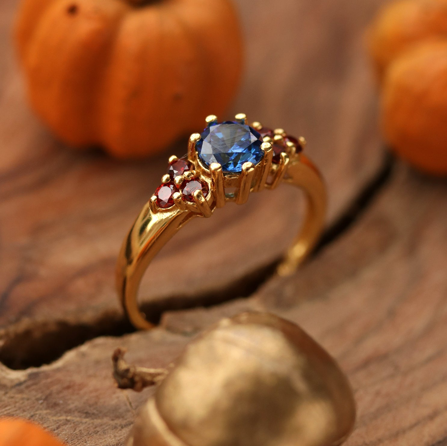 Brigantia Gold and Blue Cubic Zirconia Boho Ring