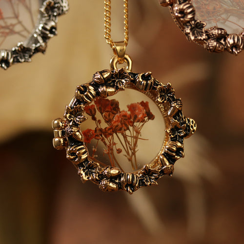 Autumn Pumpkin Wreath Window Locket Necklace *Colour Select
