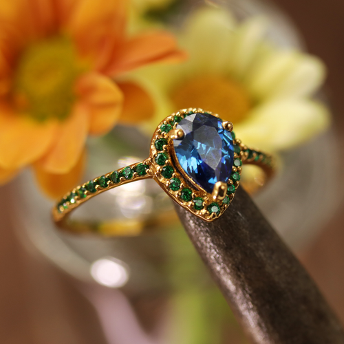 Andrasta Gold and Blue Boho Cubic Zirconia Ring