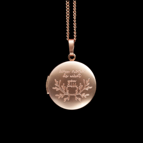 Harm None Do What You Will Boho Locket Necklace Rose Gold