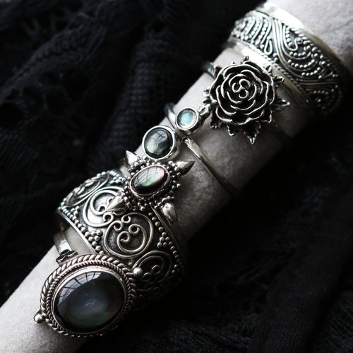 Idah Wide Band Intricate Boho Ring