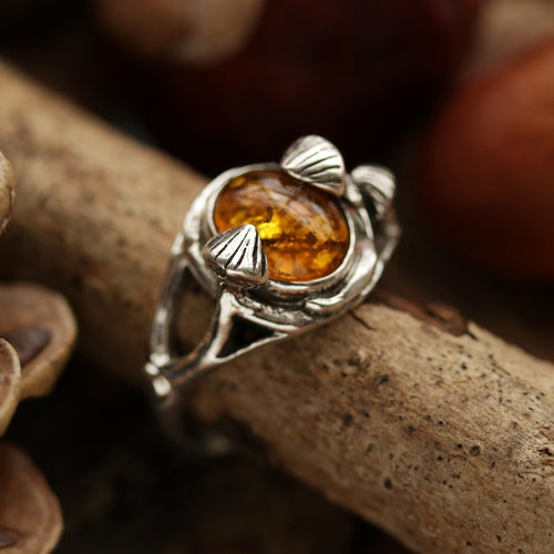 Woodland Mushroom Amber Boho Ring | Talent Scout Winner