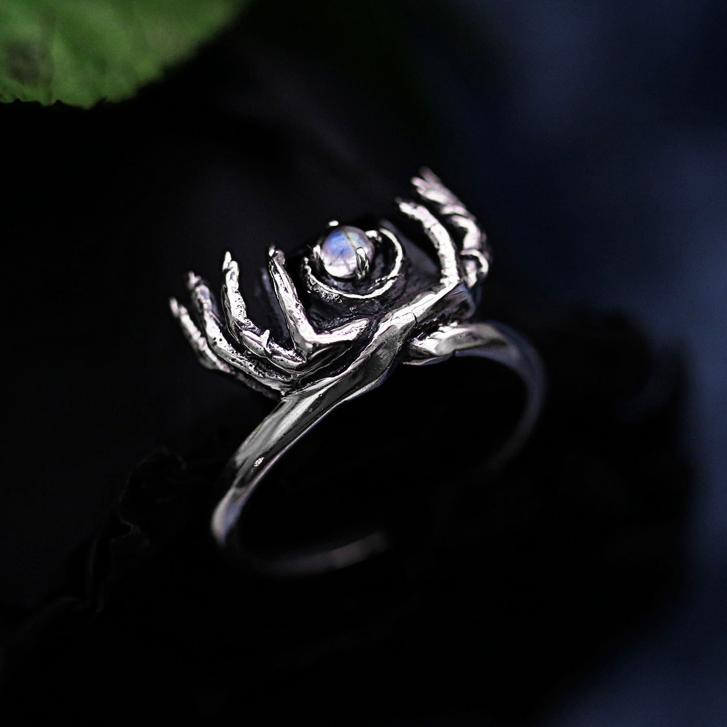 The Spirits Are Calling Moonstone Gothic Ring