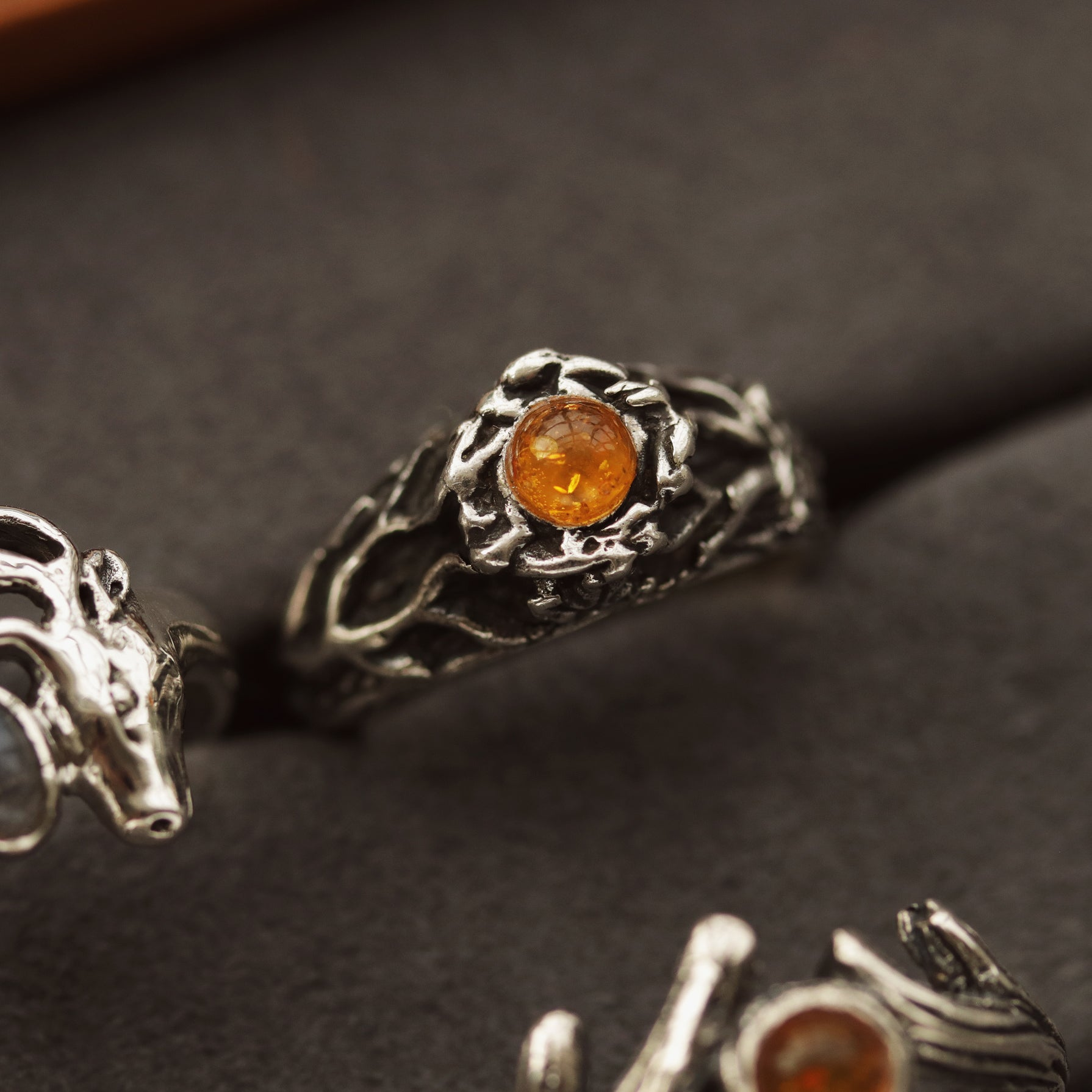 LAST CHANCE - Sisu Ivy & Amber Boho Tree Ring | Talent Scout Winner