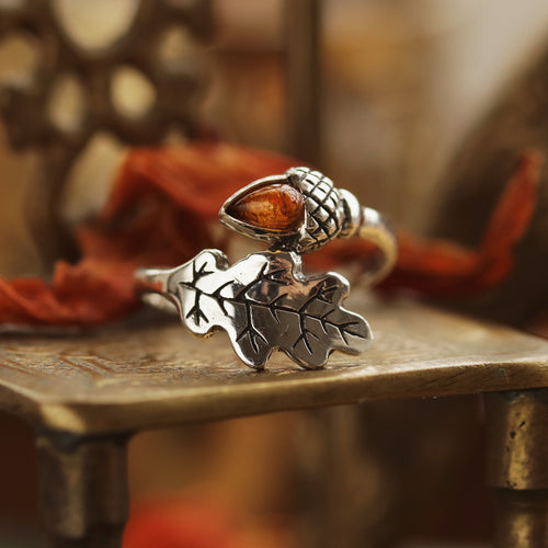 Amber Acorn Wrap Autumn Ring | Talent Scout Winner