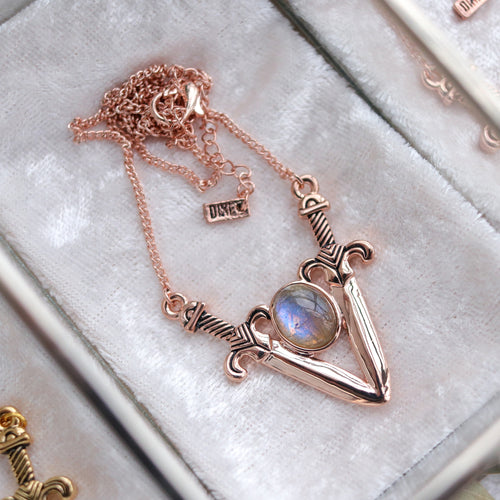 Boudica Sword Necklace Rose Gold *Stone Select