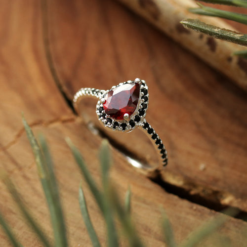 Andrasta Silver and Red Boho Cubic Zirconia Ring