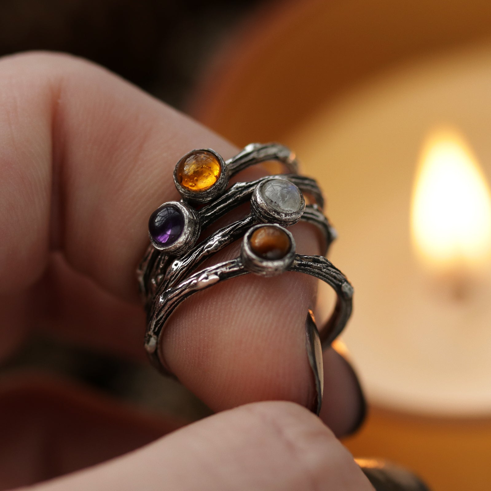 Winter's Tale Amber Sterling Silver Boho Ring