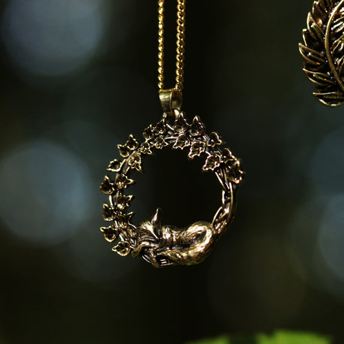 Sleeping Fox & Ivy Wreath Boho Necklace *Colour Select