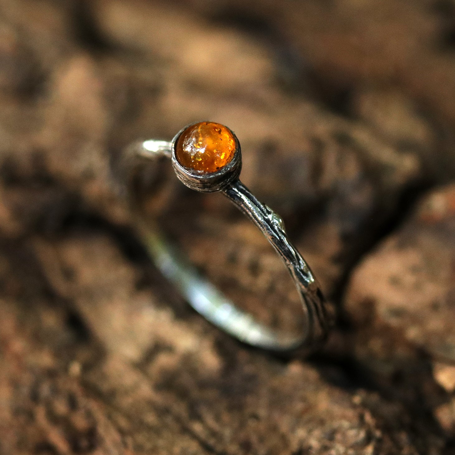 Winter's Tale Amber Branch Ring