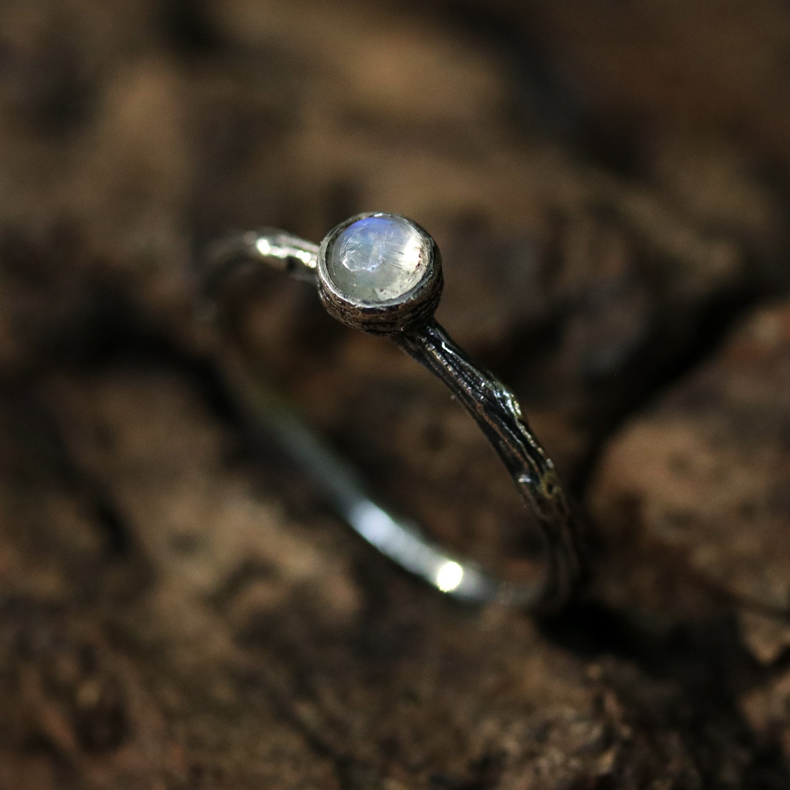 Winter's Tale Rainbow Moonstone Sterling Silver Boho Ring
