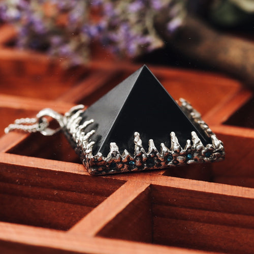 Freyr Smoky Quartz Icicle Crystal Pyramid Necklace #11