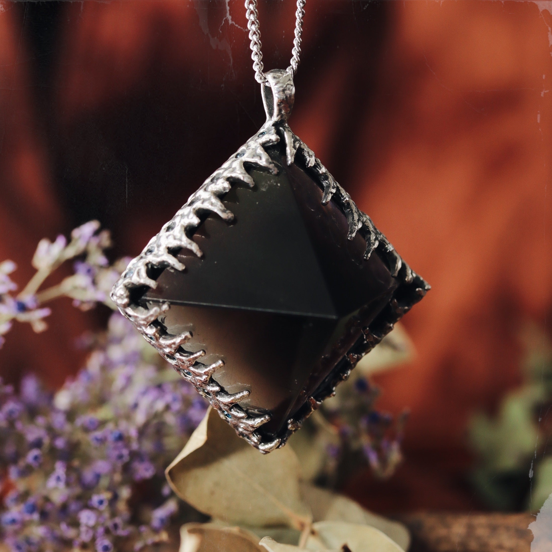 Freyr Smoky Quartz Icicle Crystal Pyramid Necklace #15