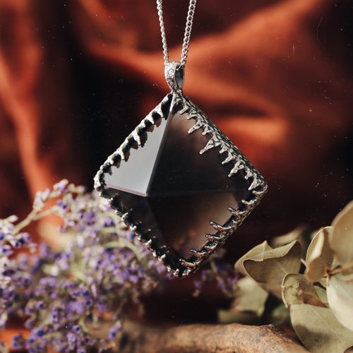 Freyr Smoky Quartz Icicle Crystal Pyramid Necklace #21