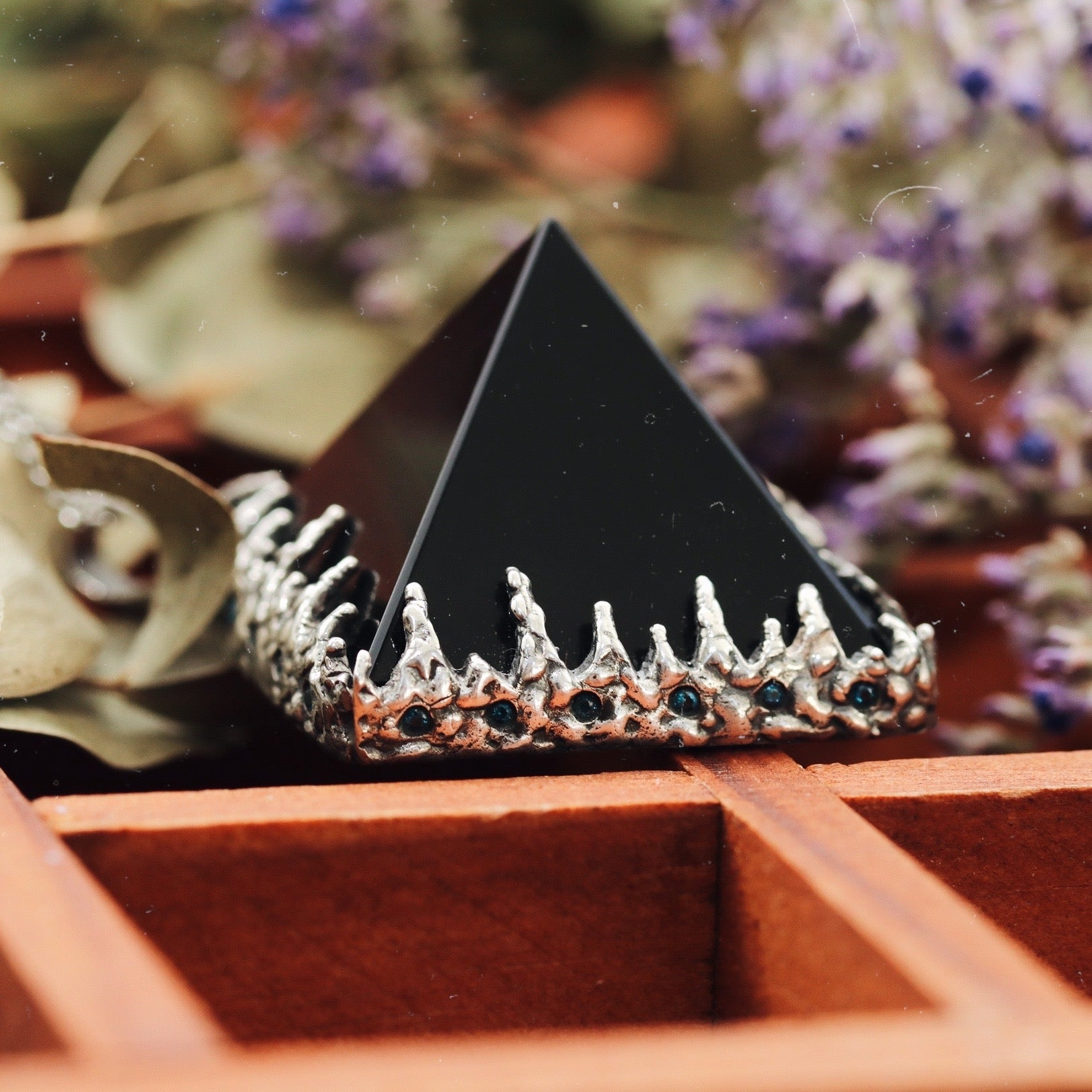 Freyr Smoky Quartz Icicle Crystal Pyramid Necklace #04