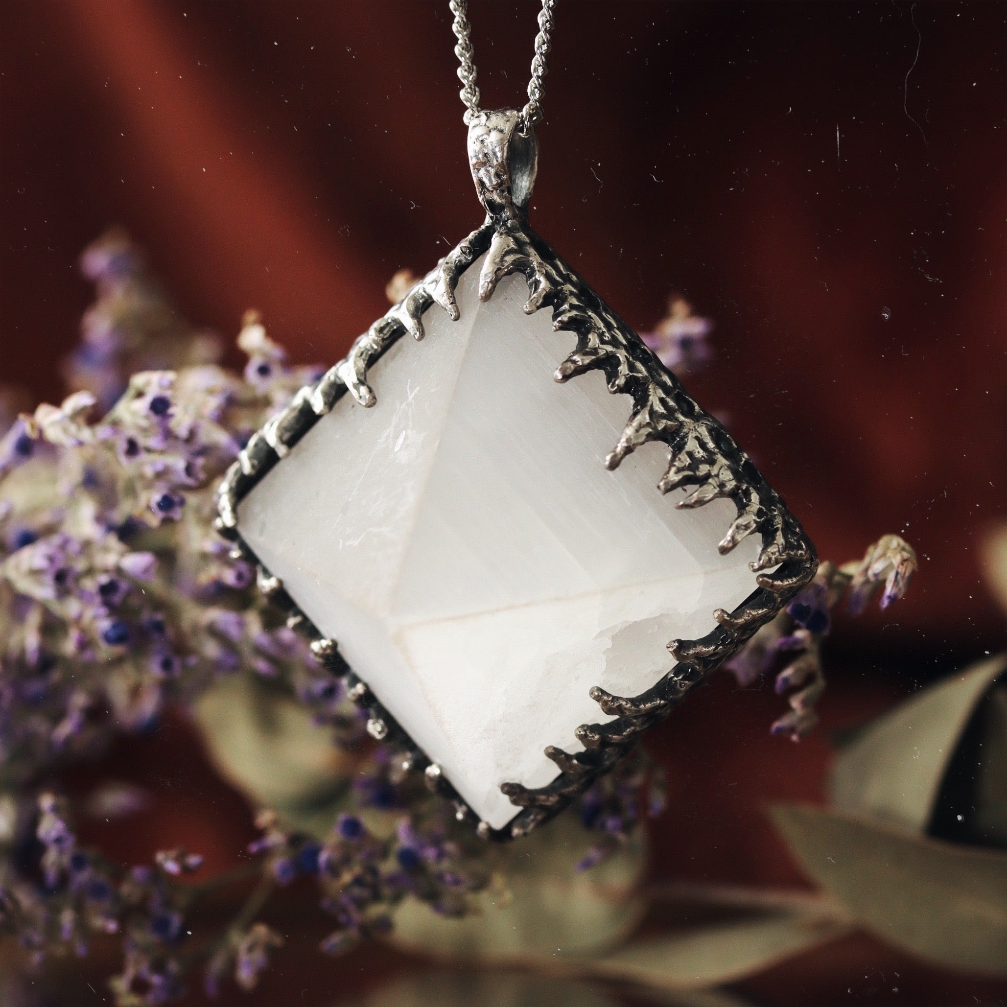 Freyr Selenite Icicle Crystal Pyramid Necklace #02