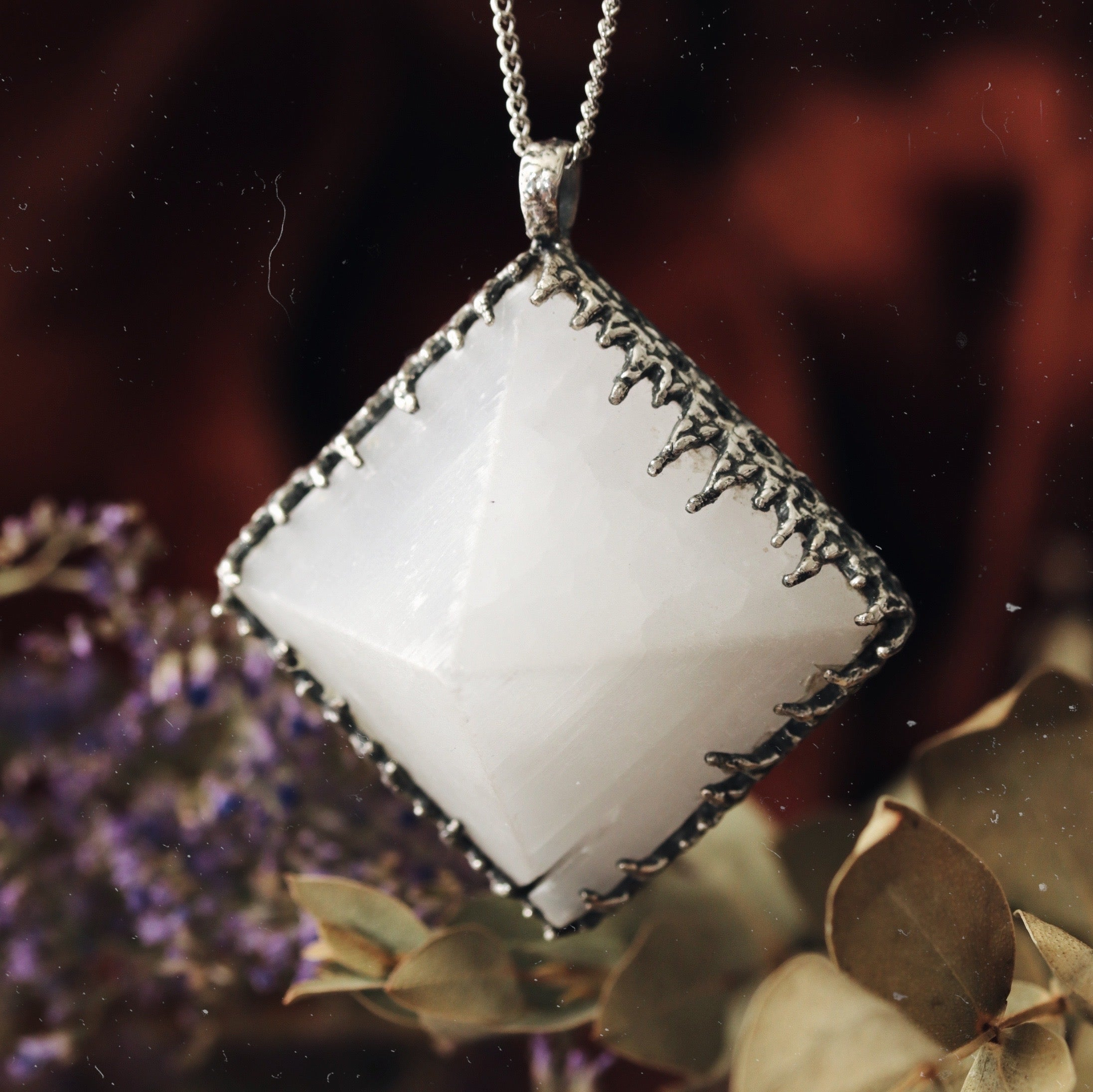 Freyr Selenite Icicle Crystal Pyramid Necklace #04