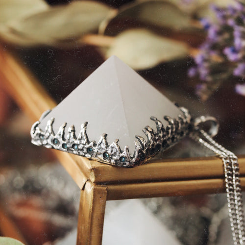 Freyr Selenite Icicle Crystal Pyramid Necklace #09