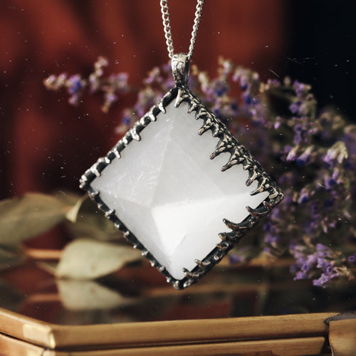 Freyr Selenite Icicle Crystal Pyramid Necklace #10