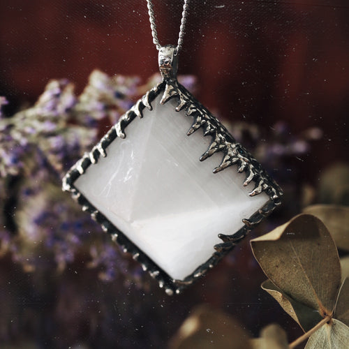 Freyr Selenite Icicle Crystal Pyramid Necklace #11
