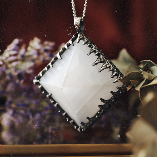 Freyr Selenite Icicle Crystal Pyramid Necklace #12