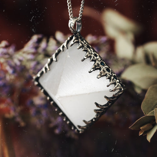 Freyr Selenite Icicle Crystal Pyramid Necklace #13