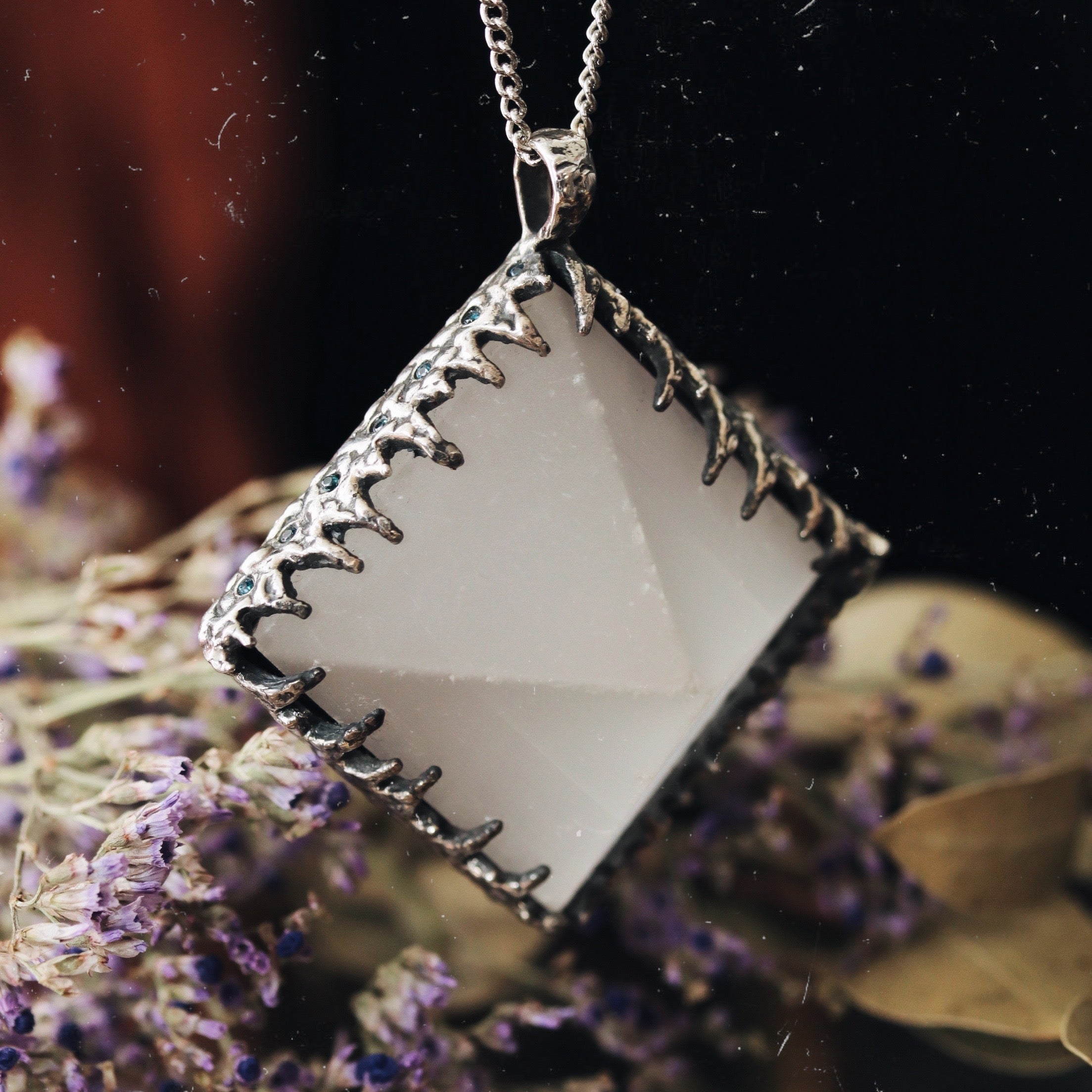 Freyr Selenite Icicle Crystal Pyramid Necklace #14