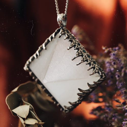 Freyr Selenite Icicle Crystal Pyramid Necklace #15