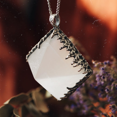 Freyr Selenite Icicle Crystal Pyramid Necklace #16