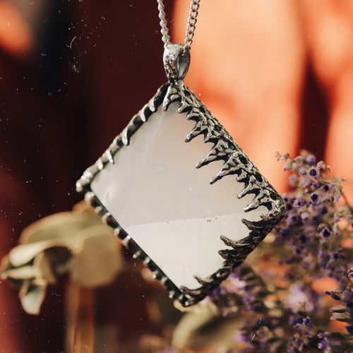 Freyr Selenite Icicle Crystal Pyramid Necklace #17