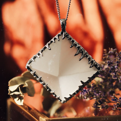 Freyr Selenite Icicle Crystal Pyramid Necklace #18